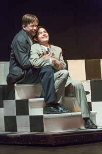 Pictured left to right: Bill Fahrner* as Addison Mizner and Michael Doppe as Hollis Bessemer in ROAD SHOW music and lyrics by Stephen Sondheim, book by John Weidman, directed by John Fisher, photo by David Wilson; A Theatre Rhinoceros Production at the Eureka Theatre. *Member Actors' Equity Association.