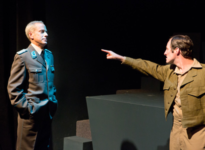 Pictured left to right: John Fisher as Oberst Klambach and Sean Keehan as Captain Conroy in SHAKESPEARE GOES TO WAR by John Fisher; a Theatre Rhinoceros Production at Thick House Theater. Photo by David Wilson