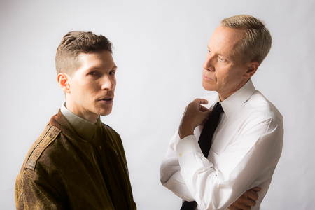 Pictured left to right: Gabriel A. Ross as Harry Jr. and John Fisher as Oberst Klambach in SHAKESPEARE GOES TO WAR by John Fisher; A Theatre Rhinoceros Production at Thick House; Photo by David Wilson.