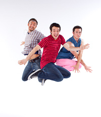 Pictured left to right: Robert Kittler as Marty, Ben Calabrese as Rory, and Zachary Isen as Jerry in Slugs and Kicks by John Fisher. A Theatre Rhinoceros production at Thick House. Photo by Kent Taylor.