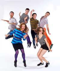 Pictured left to right: Robert Kittler as Marty, Asali Echols as Cynthia, Zachary Isen as Jerry, Ben Calabrese as Rory, Alexandra Izdebski as Anis, and Nicholas Trengove as Giles in Slugs and Kicks by John Fisher. A Theatre Rhinoceros production at Thick House. Photo by Kent Taylor.