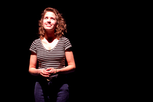Pictured: Alexandra Izdebski as Anis in Slugs and Kicks by John Fisher. A Theatre Rhinoceros  production at Thick House. Photo by Kent Taylor. Action: Anis auditions for a school play.