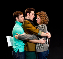 Nicholas Trengove as Giles, Zachary Isen as Jerry, and Alexandra Izdebski as Anis in Slugs and Kicks by John Fisher. A Theatre Rhinoceros production at Thick House. Photo by Kent Taylor. Action: Jerry the director gives some instruction to Anis and Giles.