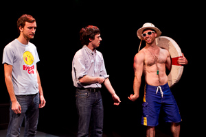 Pictured left to right: Robert Kittler as Marty, Ben Calabrese as Rory and Nicholas Trengove as Porter in Slugs and Kicks by John Fisher. A Theatre Rhinoceros production at Thick House.  Photo by Kent Taylor. Action: Marty and Rory encounter Porter, a lifeguard, on the beach in Southampton, NY.