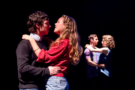 Pictured left to right: Ben Calabrese as Rory, Asali Echols as Cynthia, Nicholas Trengove as Giles and Alexandra Izdebski as Anis in Slugs and Kicks by John Fisher. A Theatre Rhinoceros production at Thick House. Photo by Kent Taylor. Action: Rory and Cynthia embrace passionately as Giles and Anis sing of their love.