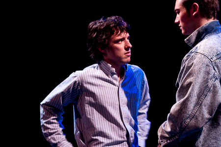 Pictured left to right: Ben Calabrese as Rory and Zachary Isen as Jerry in Slugs and Kicks by John Fisher. A Theatre Rhinoceros production at Thick House. Photo by Kent Taylor.  Action: Jerry confronts Rory.
