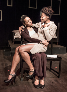 Pictured left to right: Desiree Rogers as Meredith and Nkechi as Natasha in WALK LIKE A MAN by Laurinda D. Brown; directed by John Fisher. A Theatre Rhinoceros Production at The Costume Shop. Photo by David Wilson.