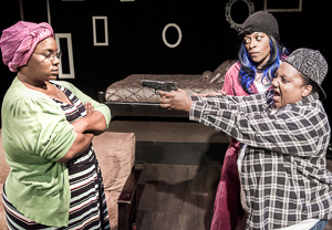 Pictured left to right: Kelli Crump as Moms, Daile Mitchum as LaQuita, and Alexaendrai Bond as Mo in WALK LIKE A MAN by Laurinda D. Brown; directed by John Fisher. A Theatre Rhinoceros Production at The Costume Shop. Photo by David Wilson.