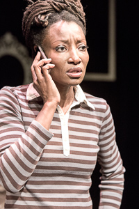 Pictured: Nkechi as Natasha in WALK LIKE A MAN by Laurinda D. Brown; directed by John Fisher. A Theatre Rhinoceros Production at The Costume Shop. Photo by David Wilson.
