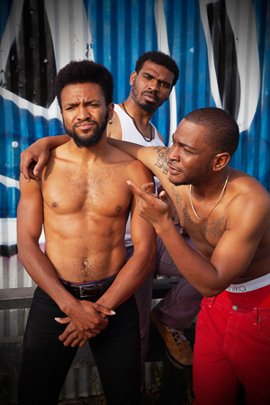 Pictured left to right: Gabriel Christian as Oshoosi, Lakeidrick S. Wimberly as Ogun, and Julian Green as Elegba in The Brothers Size by Tarell Alvin McCraney. A Theatre Rhinoceros Production at The Eureka Theater. Photo by Steven Ho.