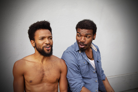 Pictured left to right: Gabriel Christian as Oshoosi and Lakeidrick S. Wimberly as Ogun in The Brothers Size by Tarell Alvin McCraney. A Theatre Rhinoceros Production at The Eureka Theater. Photo by Steven Ho.
