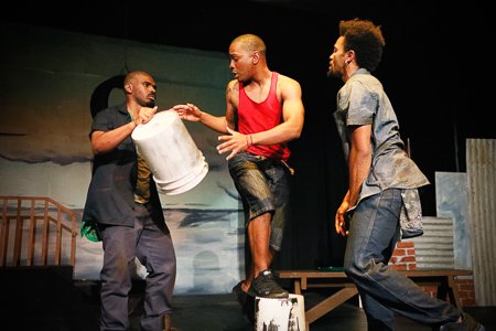 Pictured left to right: LaKeidrick Wimberly as Ogun, Julian Green as Elegba, and Gabriel Christian as Oshoosi in Tarrel Alvin McCraney's THE BROTHERS SIZE, directed by Darryl V. Jones ; A Theatre Rhinoceros Production at the Eureka Theatre; photo by Steven Ho.