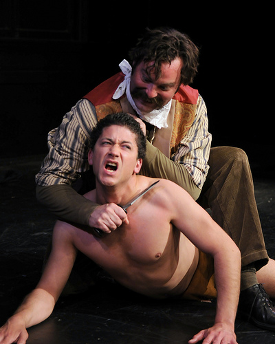 "Michael Vega and Chris Libby in ""Ishi: The Last of the Yahi"" by John Fisher; Photo by Judi Price"