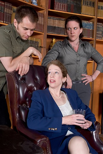 Past Perfect press photo of Clayton B. Hodges*, Adrienne Krug,  Libby O'Connell