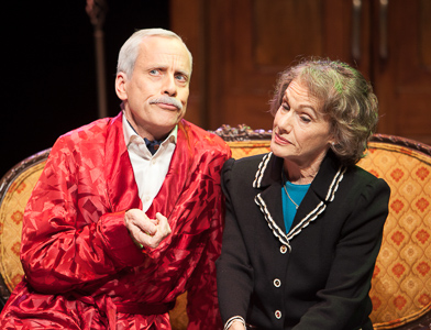 Pictured left to right: John Fisher as Sir Hugo Latymer and Tamar Cohn as Lady Hilde Latymer in Noel Coward's A SONG AT TWILIGHT.  A Theatre Rhinoceros Production at Z Below. Photo by David Wilson.