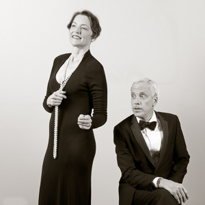 Pictured left to right: Sylvia Kratins as Carlotta Gray and John Fisher as Sir Hugo Latymer in Noël Coward's A Song at Twilight. A Theatre Rhinoceros Production at Z Below. Photo by David Wilson.