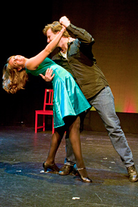 Left to Right: Scott Gessford and Holly Nugent as Susan  as Jonathan in Jonathan Larson's tick, tick... BOOM!